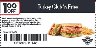 $1.00 off turkey club 'n fries.