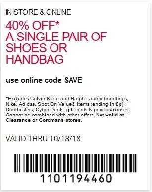 40% off a single pair of shoes or handbag.